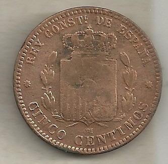 5 centimos 1879 - espanha - cobre