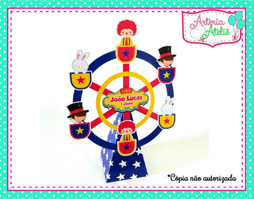 5 centro de mesa roda gigante personalizados festa circo