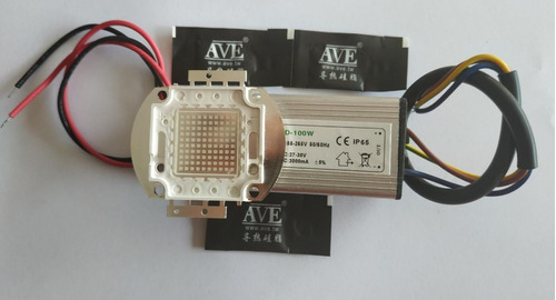 5 chip led 100w uv +5 driver 35v 3ma 100w+cola termica