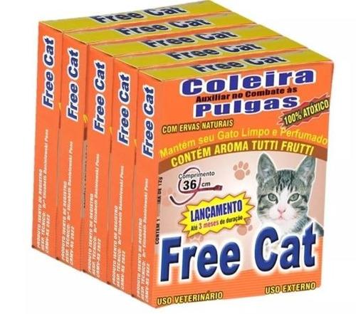 5 coleira anti pulgas para gatos - free cat 100% natural