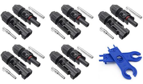 5 conectores mc4 para painel solar + 1 par de chave esticador