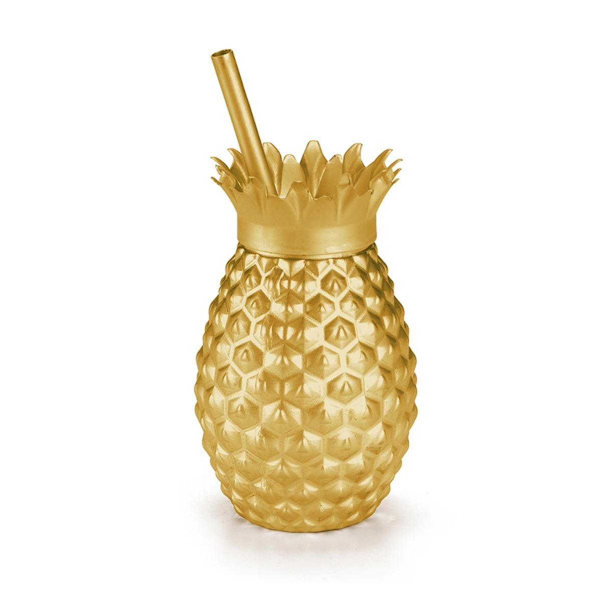 5 Copos Abacaxi Dourado Lembrancinhas Casa E Festa Havaiana R 49