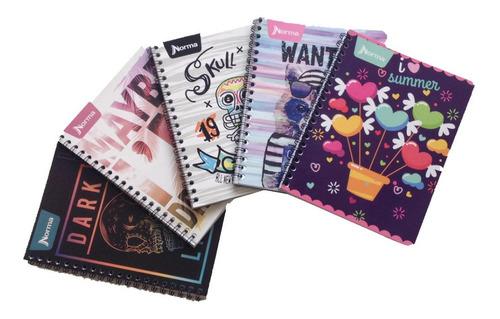 5 cuadernos profesional engargolado norma 100 hojas surtido