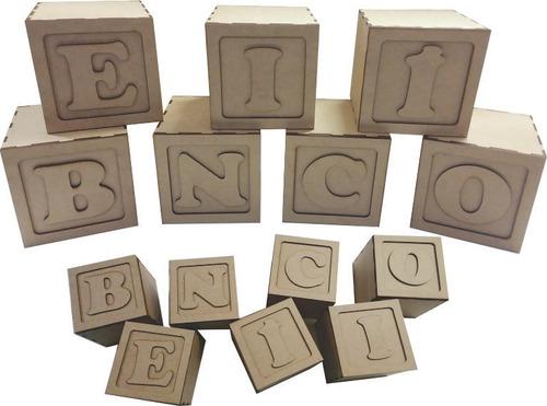 5 cubo letra mdf crú 12 cm decoração chá de bebê