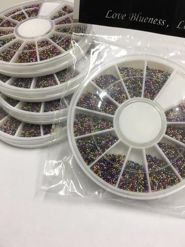 5 discos caviar unhas decoradas micro perolas tutti frutti