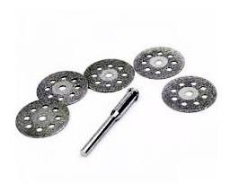 5 discos diamantado 22mm p/ micro retifica dremel + 1 haste