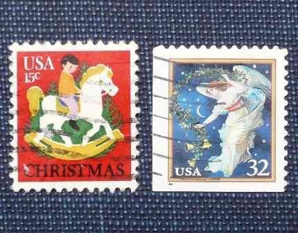 5 estampilla navidad christmas usa angel niño caballo juguet