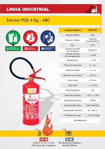 5 extintor abc 4kg pó 5 anos valido até 2024 suporte