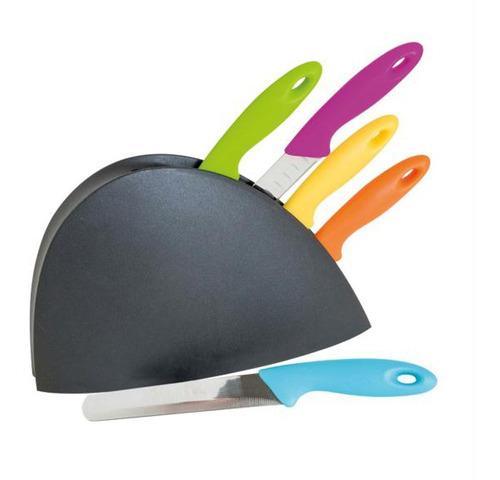5 facas coloridas com suporte modelos diferentes