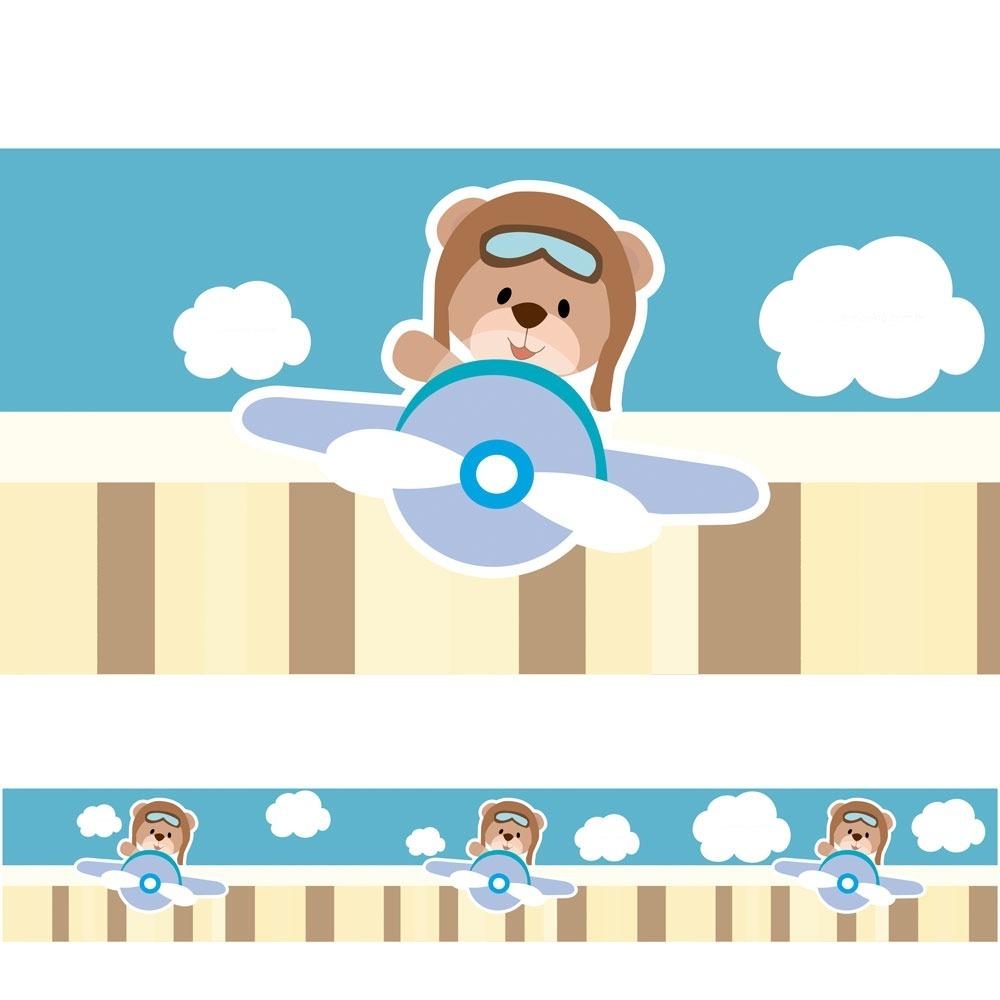 5 Faixas Adesivas Decorativa Ursinho Aviador R 60 00 Em Mercado