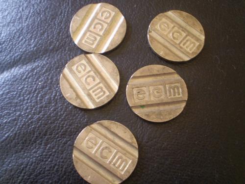 5 fichas antiguas  de parquimetro