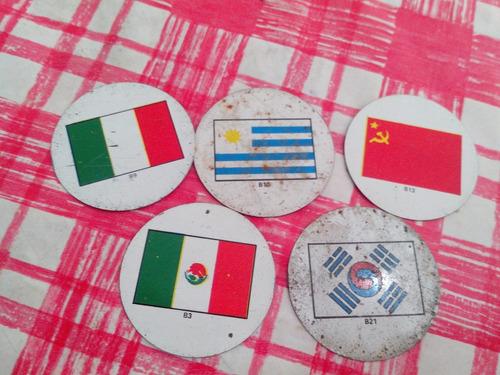 5 figuritas chapitas de paises  de chapa paises !