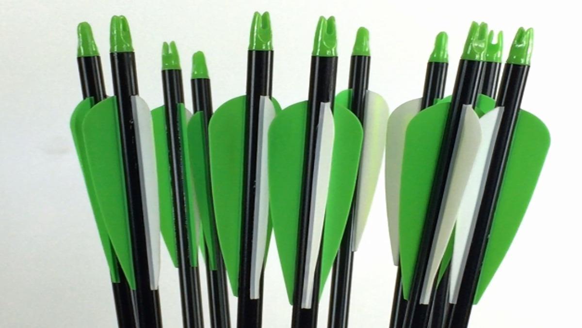 5 Flechas De Aluminio Completas Para Arco Verde/blanco