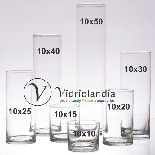 5 floreros cilindro de 10x30 tubos de vidrio centro de mesa