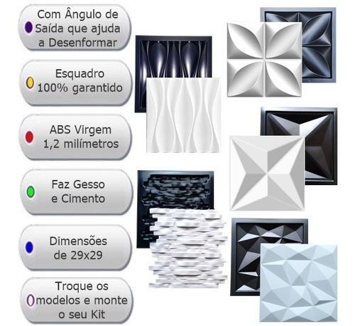 5 formas de gesso 3d cimento abs virgem fdg 22,33 monte kit