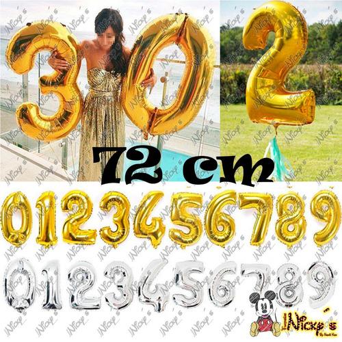 5 globos de números de 72 cm envio incluido plata y dorado
