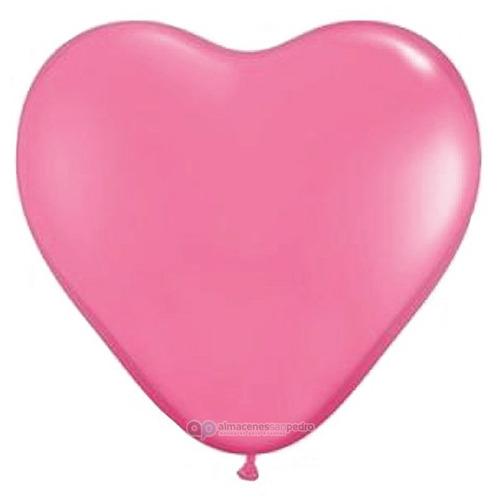 5 globos gigantes en forma de corazón color rosa