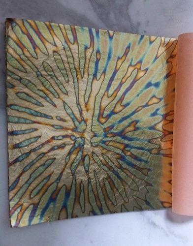5 hojas  oro abigarrado azul arte  14x14 instructivo gratis