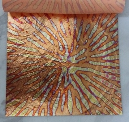 5 hojas  oro abigarrado rojo arte  14x14 instructivo gratis