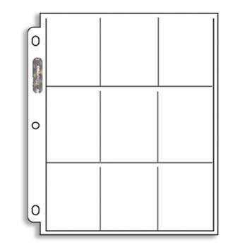 5 hojas ultra pro de 9 espacios para barajitas de colección