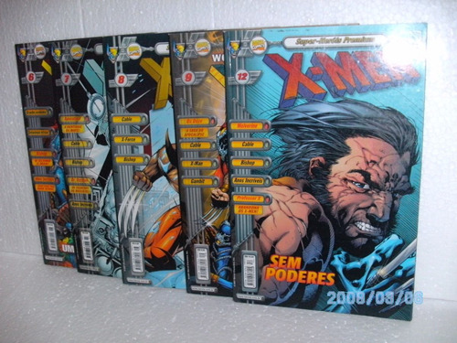 5 hqs super heróis premium x-men nº 6-7-8-9 e 12 gibis fj