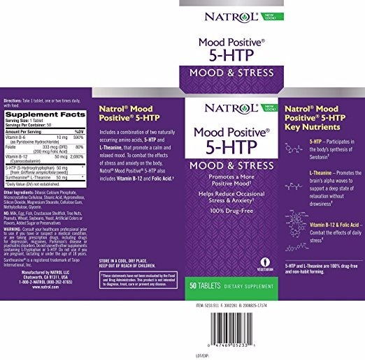 5-htp mood positive natrol 50mg 50 tabletes c/ vit b6 e b12