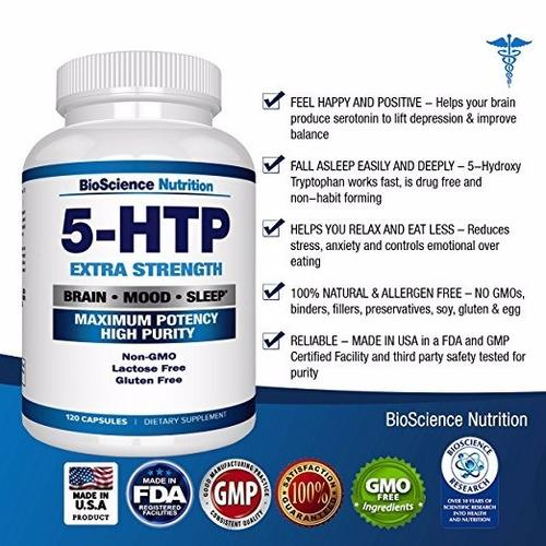 5-htp time release importado 120 capsulas - 60 dias