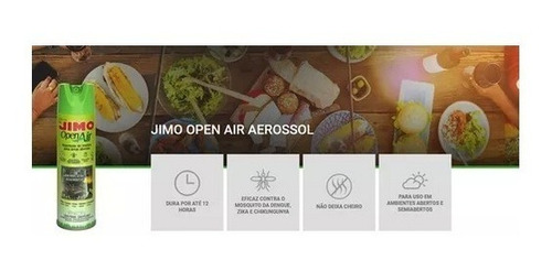 5 jimo open air p/ áreas abertas dengue zika mosquitos 300ml