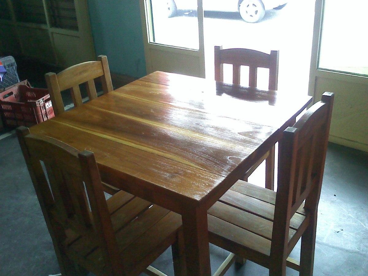 5 juego de comedor madera teca restaurant tasca casa finca bs en mercado libre. Black Bedroom Furniture Sets. Home Design Ideas