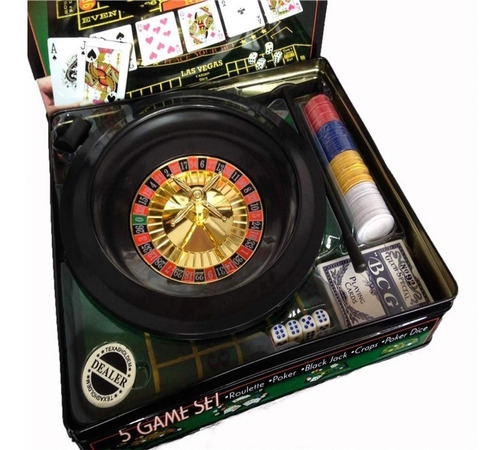 5 juegos roulette-poker-black jack-craps-poker dice