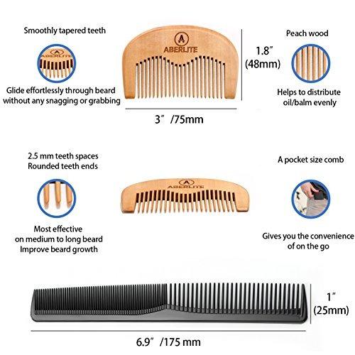 5 kit barba/bigote aberlite tijera cabello, barba 2 peines