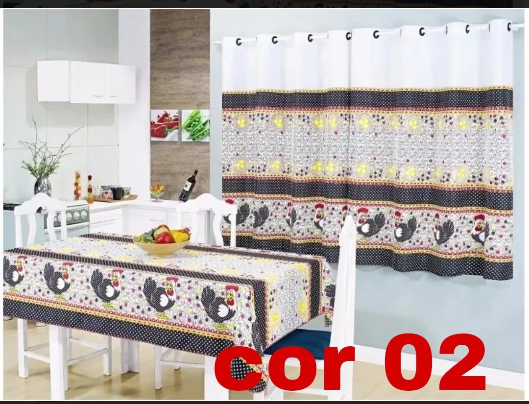 5 Kit Cozinha Toalha Mesa 4 Cadeiras E Cortina Frete Gr Tis R 185
