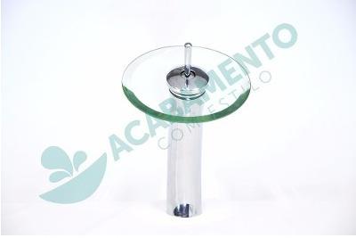 5 kits cuba vidro redonda 42cm + misturador + válcula click