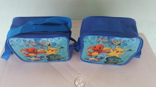 5 lancheiras bolsinha personalizada lembrancinha pokemon