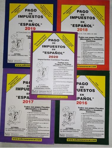 5 libros pago de impuestos en español 2016 a 2020. nuevos