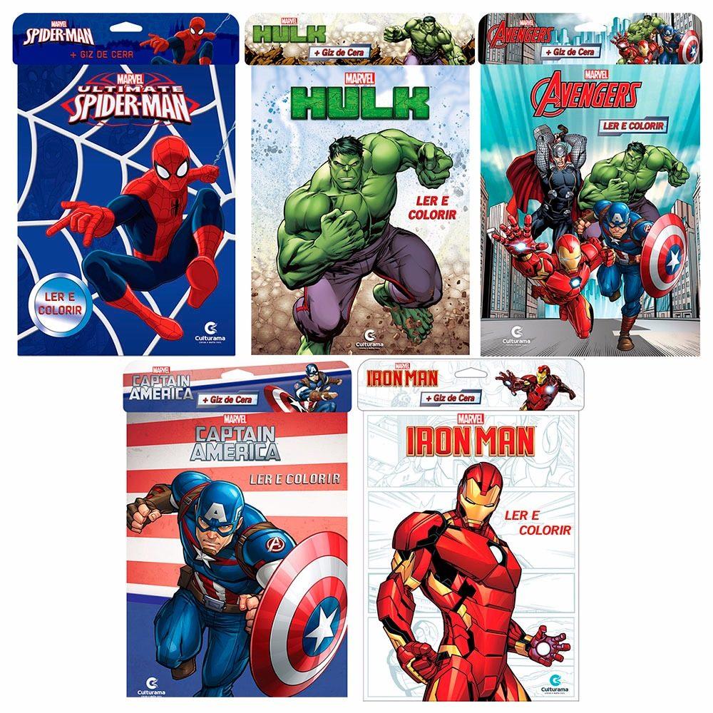 5 Livros Ler E Colorir Marvel Vingadores Giz De Cera R 37 10