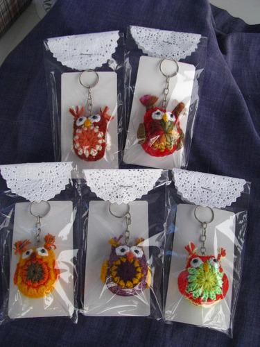 5 llaveros lechuzas tejidas a crochet