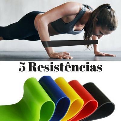 1f6da43f4 5 Mini Bands E Tapete Yoga Premium Azul 8mm Pilates - R  128