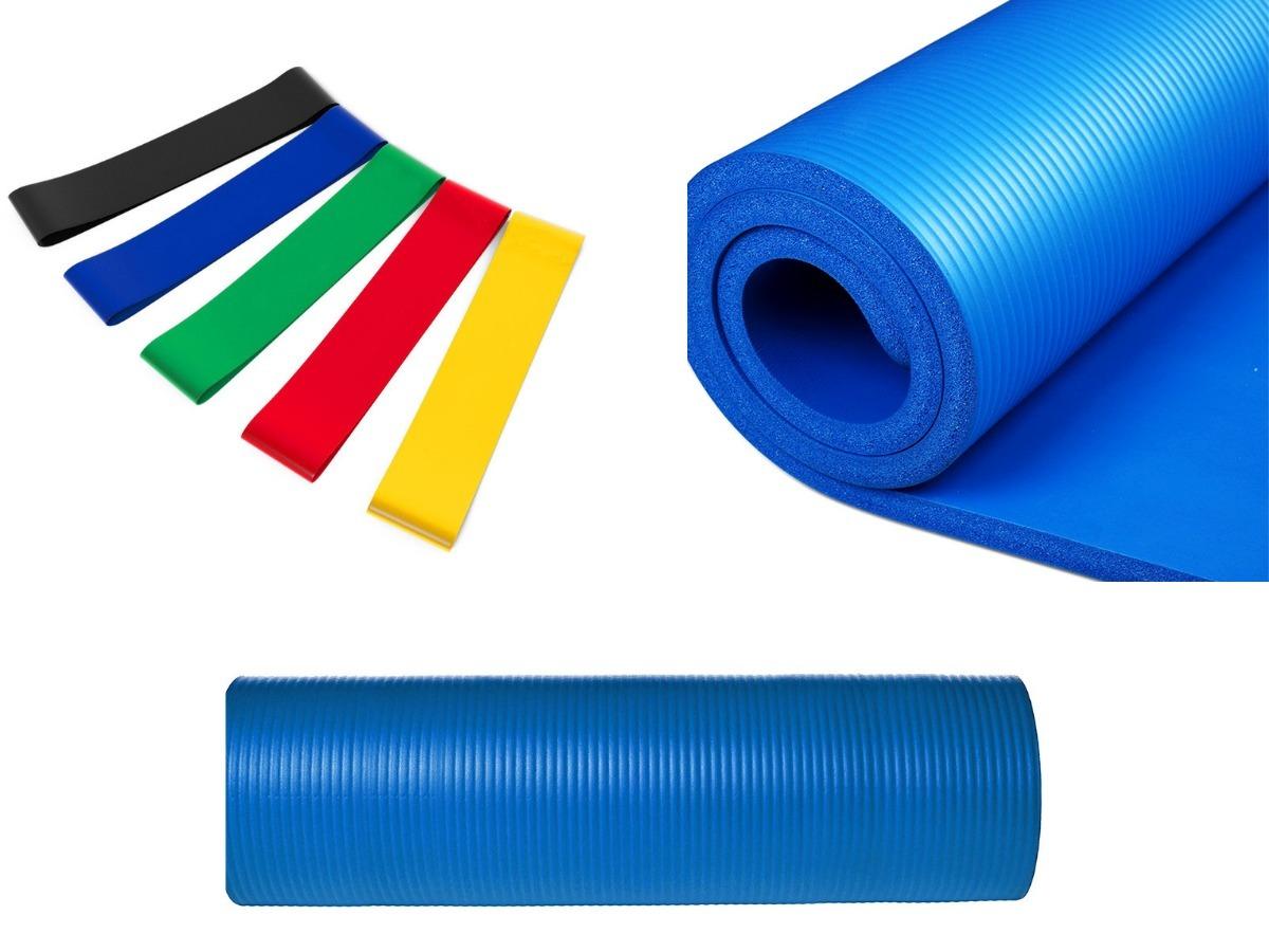 1961af30f 5 mini bands e tapete yoga premium azul 8mm pilates. Carregando zoom.