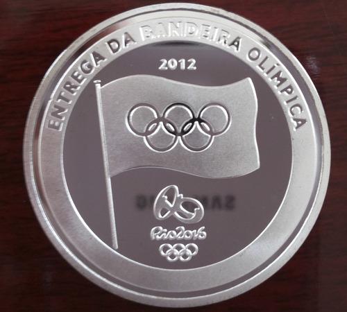 5 moeda medalha entrega bandeira olimpíadas banhada prata