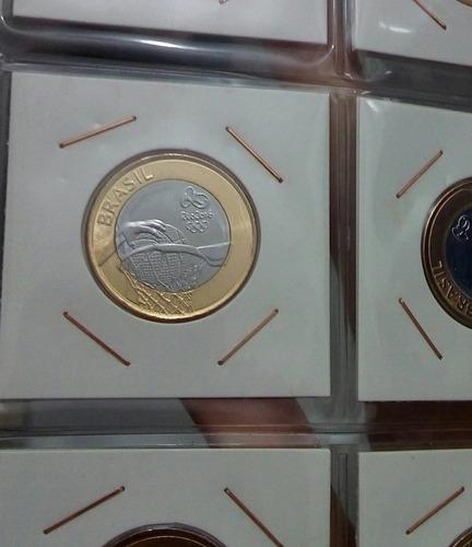 5 moedas basquete ou rugbi flor de cunho - olimpiadas
