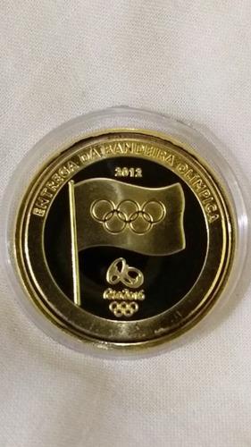 5 moedas entrega da bandeira olimpíadas rio-réplica folheada