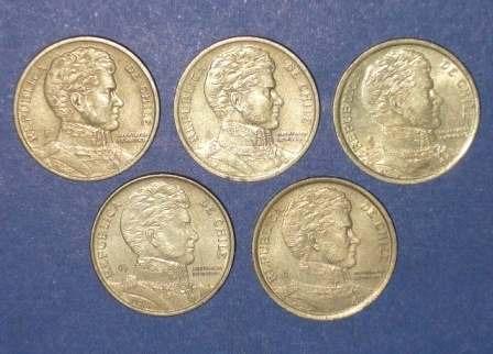 5 monedas 10 pesos chile o higgins 1999 2000 2004 2007 2008