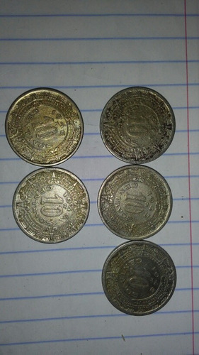 5 monedas de 10 cents de calendario azteca.1945 y 1946