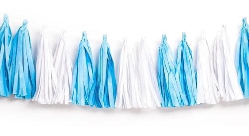 5 mts guirnaldas de papel color blanco con 25 borlas