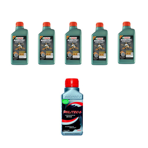 5 óleo castrol magnatec 5w40 100% sintético + 1 militec