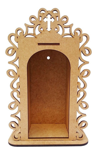 5 oratório médio 15x24x10 mdf crú religioso mesa porta santo