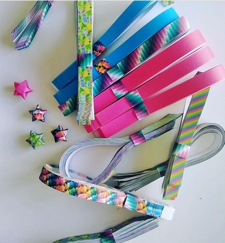 5 pack de tiras para estrellas origami. lucky stars