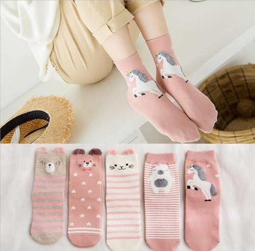 5 pares calcetas japonesas mujer kawaii japón unicornio