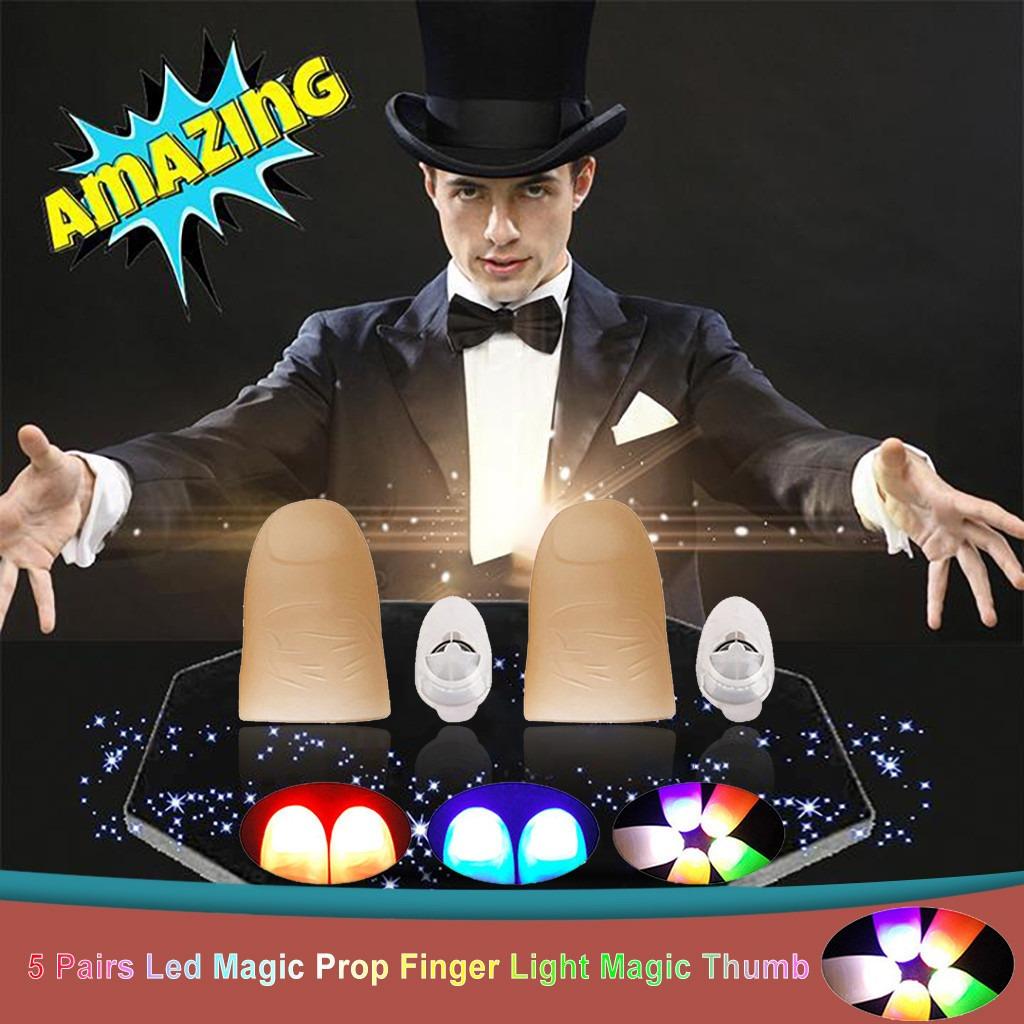 5 Pares De Led Magia Prop Dedo Luz Magia Pulgar Juguete Para